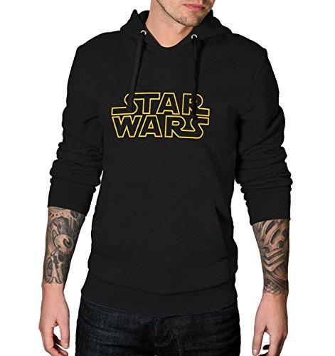 Decrum Star Hoodie Men (Black - Wars Yellow Logo, L) - Stitched Logo Hoody Sweatshirt