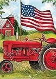 BreezeArt Patriotic Tractor Garden Flag 31504