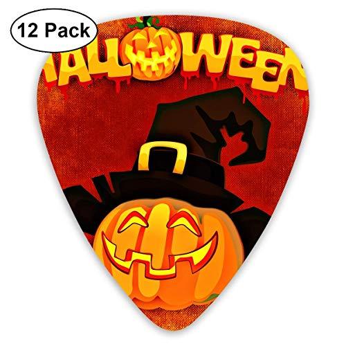 Custom Guitar Picks, Cute Halloween Cartoon Witch Hat Pumpkin Guitar Pick,Jewelry Gift For Guitar Lover,12 Pack ()