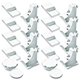 8 x NEVEQ Magnetic child locks for baby safety care and kids proofing (8 locks & 1 key). No tools needed - easy application to kitchen drawer, cabinet door, wardrobe and cupboard.