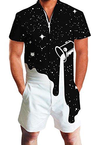 Male Set Casual Short White Balck Romper Jumpsuit 3D Novelty Print One-Piece Sweatpant Clothing Pants Boyfriend -