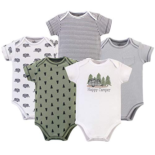Touched by Nature Unisex Baby Organic Cotton Bodysuits, Happy Camper, 0-3 Months
