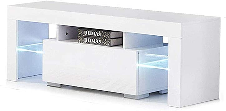 """51/"""" TV Stand High Gloss White Cabinet Console Furniture w//LED Shelves Drawers"""