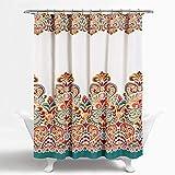Orange Shower Curtain Lush Decor Clara Shower Curtain - Fabric Colorful Boho Paisley Damask Print Design, 72