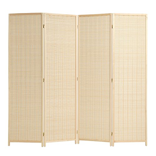 RHF Freestanding Bamboo 4 Panel-Double Hinged- Room Divider,6 ft. Tall - Beige - 4 Panel