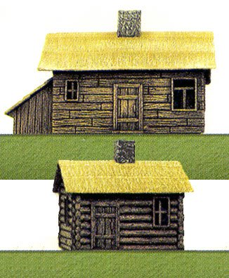 2/Ruso Farm Casas /1//144/WW II Montado Modelo pl/ástico Maqueta de Pegasus pg0850/