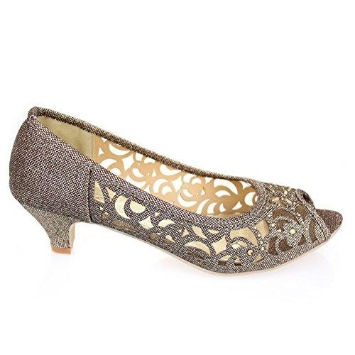 Frau Damen Abend Party Peeptoe Diamante Keilabsatz Sandalen Schuhe Größe Braun