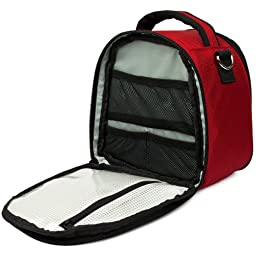 VanGoddy Laurel Fire Red Carrying Case Bag for Sony Interchangeable lens Series Digital Cameras