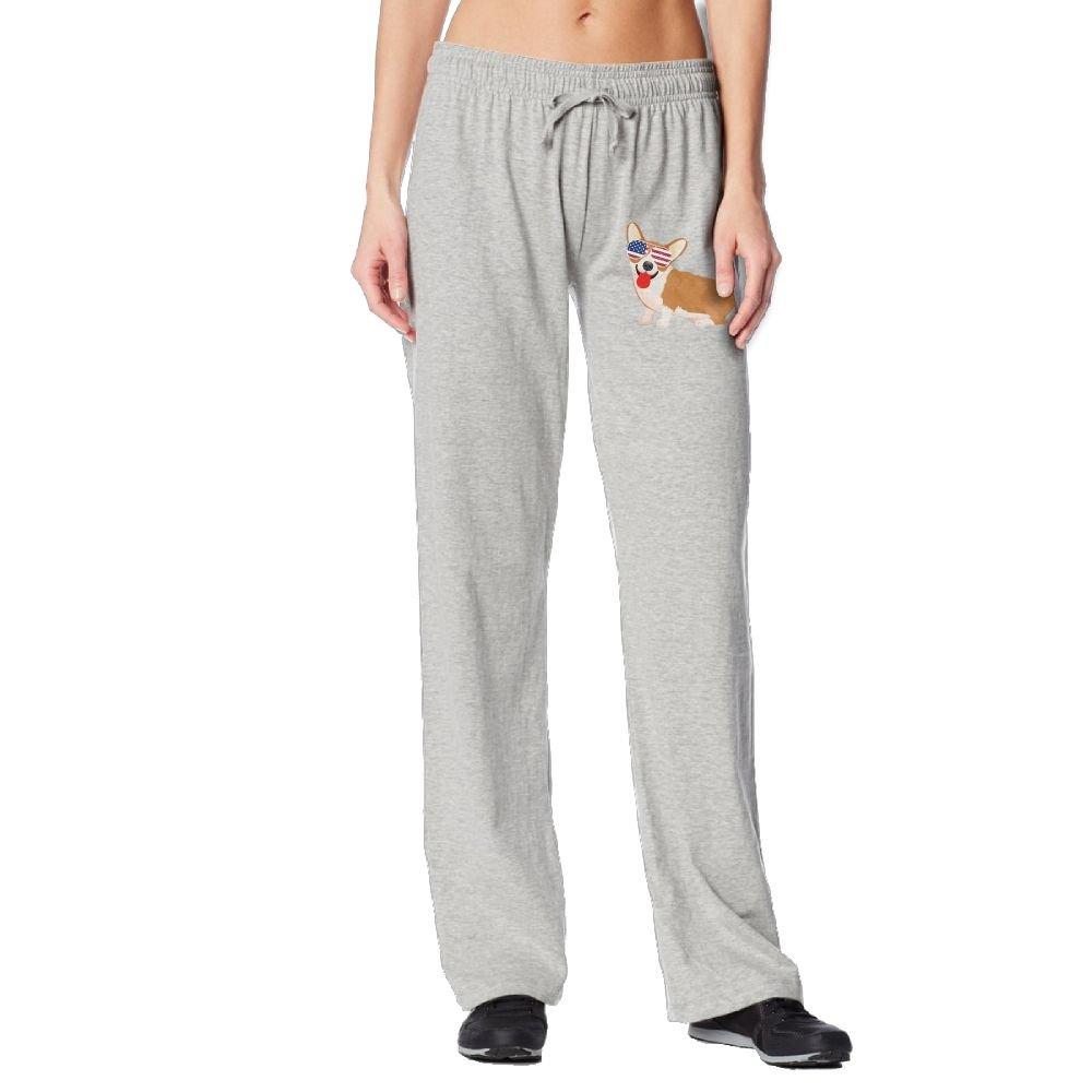 Cindly Corgi American Flag Patriotic Sunglasses Womens Sweat Pants With Pockets 100% Cotton