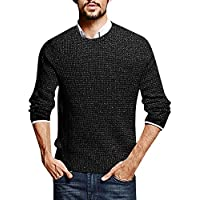 Puwany Mens Pullover Long Sleeve Knitted Sweater Pullover