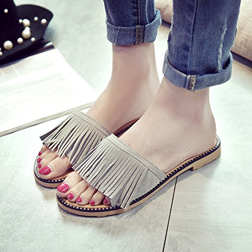 green Sandy Casual Scrub Summer Women'S Slippers Wild Beach Comfortable Flat Sandals Fashion Fringe WHLShoes q4zO7x