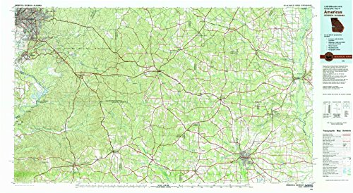 Americus GA topo map, 1:100000 scale, 30 X 60 Minute, Historical, 1981, updated 1982, 24.1 x 44 IN - Tyvek (Park Ray Ross)