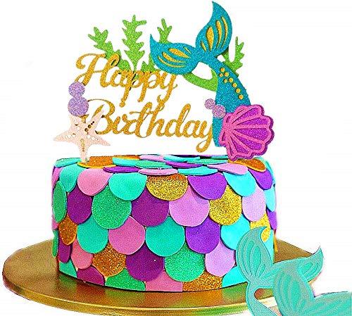 JeVenis - Decoración para tarta con purpurina, diseño de sirena con purpurina, para cumpleaños, fiestas de cumpleaños o fiestas
