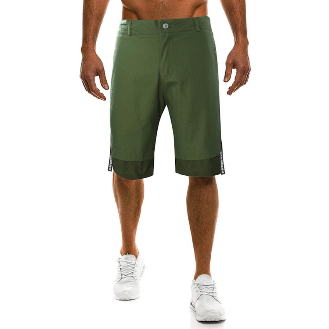 PASATO Fashion New Men's Pants Fastener Pure Color Joint Printing Loose Sports Pants(Army Green,XL)