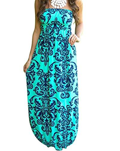 Dos Nu Imprim Maxi Vert Femme Longue Bustier Bandeau De Bretelles Robe Soiree Floral Style sans Plage Robe Bohme De qq8t0