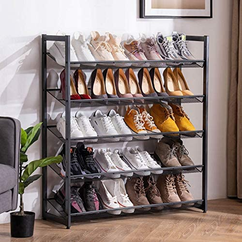 Apicizon 5-Tier Metal Shoe Rack, 20-25 Pairs Adjustable Shoe Organizer from Slant to Flat, Stackable Shoe Storage Shelves with Stable Iron Structure for Entryway Closets, Cool Grey