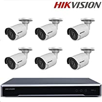 Hikvision Security Camera System NVR DS-7608NI-K2/8P 2SATA 8CH 8POE + Hikvision English Security Camera DS-2CD2055FWD-I 5MP H.265+Mini Bullet CCTV Camera + Seagate 2TB HDD (8 Channel + 6 Camera, 5MP)