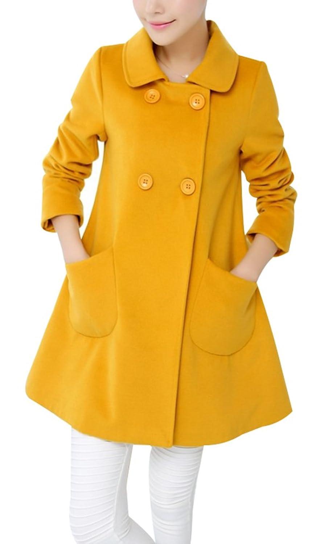 Yasong Women's Girl's Candy Color Doppelknopfleiste Faux Wool Coat Peacoat Outerwear Trench Coat