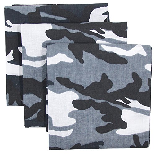 Bandana 3-Pack - Made in USA For 70 Years - Sold by Vets – 100% Cotton –Sewn Edges (Black, Grey Camo 3 Pack)