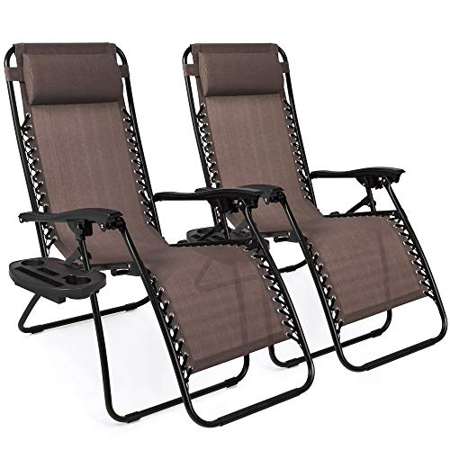 (Best Choice Products Set of 2 Adjustable Zero Gravity Lounge Chair Recliners for Patio, Pool w/ Cup Holders - Brown)