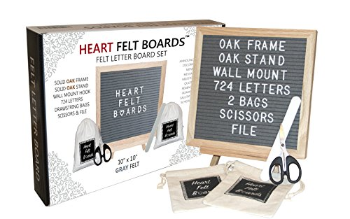 Felt Letter Board 10x10 - Oak Wood Frame Oak Tripod Stand - 724 White Letters - 2 Storage Bags Scissors File - Wall Mount Hanger - Emojis Symbols Numbers - Wood Changeable Message Display Sign (Gray) by Heart Felt Boards