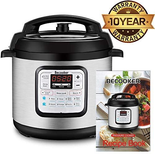 Becooker 11-in-1 Multi Programmable Electric Pressure Stainless Steel Pot, Rice, Slow Cooker, Meat Stew, Sauté, Steamer, and Warm, 6 Quart, Black