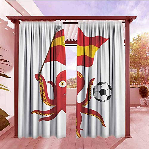 Exterior/Outside Curtains Funny Octopus Soccer Player Spain Flag European Football Barcelona Madrid Valencia Sports Lover Clip Accent for Male Waterproof Patio Door Panel W108x72L Red Yellow White