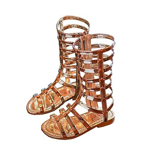 BININBOX Girls High-top Gladiator Sandals Summer Rivet Girls Sandals Kids (9 M US Toddler, Gold)]()