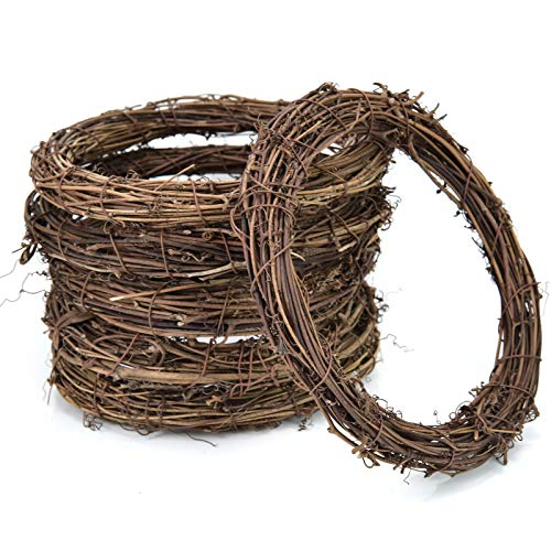AQUEENLY Grapevine Wreath, 6 PCS Twigs Wreath DIY Vine Wreath Decorations for Front Door Wall Hanging, 7.9 Inches (18 Vine Wreath)