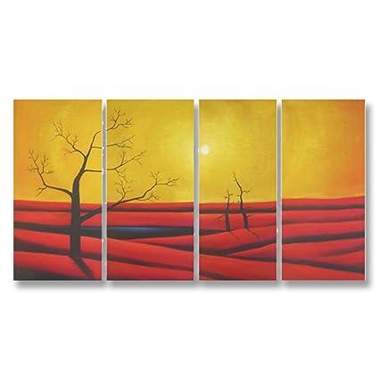 Amazon.com: Neron Art Hand Painted Split Canvas Paintings Landscape ...