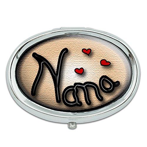 Nana amor corazones Metal Oval caso pastillero