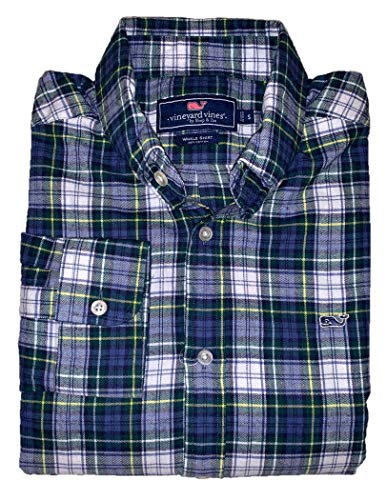 Plaid Charleston - Vineyard Vines Men's Classic Fit Whale Flannel Button Down Shirt - Charleston Plaid (Medium, Charleston Green Plaid Flannel)