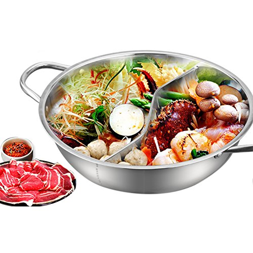 Hot Pot, Giveme5 Stainless Steel Twin Hot Pot Cookware Shabu Shabu Dual Sided Induction Cooker Gas Furnace Include Pot Lid and Pot Spoon (30cm) by Giveme5 (Image #8)'