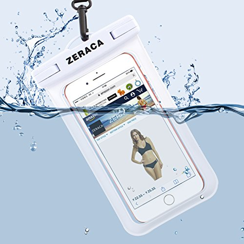 Zeraca Universal Waterproof Case IPX8 Phone Pounch Dry Bag for iPhone 8 8Plus 7 7Plus 6 6s Plus Samsung Google Pixel HTC LG Huawei Up To 6.0 Inches 2 PACK (Black White) by zeraca (Image #3)