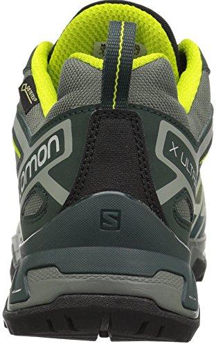 Hombres Salomon X 3 Gtx De Ultra Senderismo Y Zapatos Para Caminar Bajos, Verde, Gris Eu 48,7 (ricino Gris / Lim Picea / Ácido Más Oscura 000)
