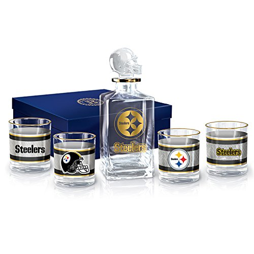 Pittsburgh Steelers Decanter and Glasses Barware Gift Set by The Bradford Exchange