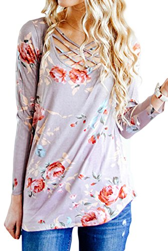 Print T Shirt Casual Long Sleeve Crisscross Front V Neck Blouse Tops (Small, Light Purple) ()