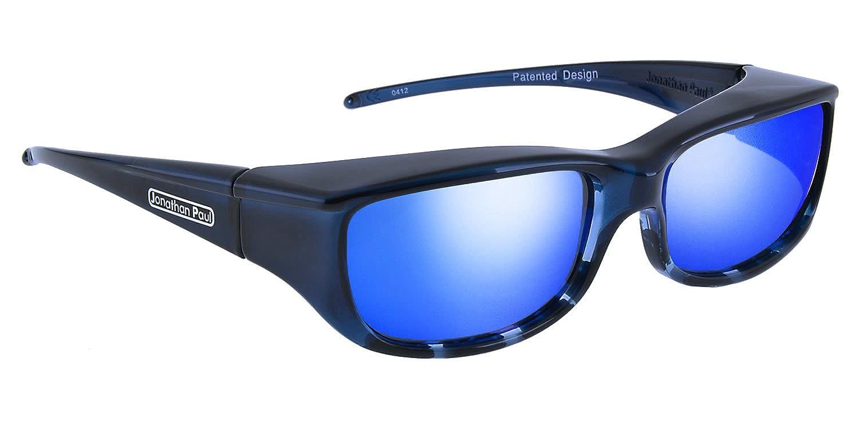 9716aaaa3b84 Amazon.com  Jonathan Paul Fitovers Euroka Small Polarized Over Sunglasses    Blue-Ebony   Polarvue Blue Mirror  Clothing
