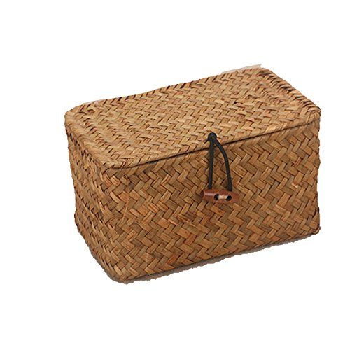 Collocation-Online Rattan Weave Storage Box With Lid For Bulk Seaweed Vintage Straw Basket Container Jewelry,B 076 m (Basket Rattan Supplier)