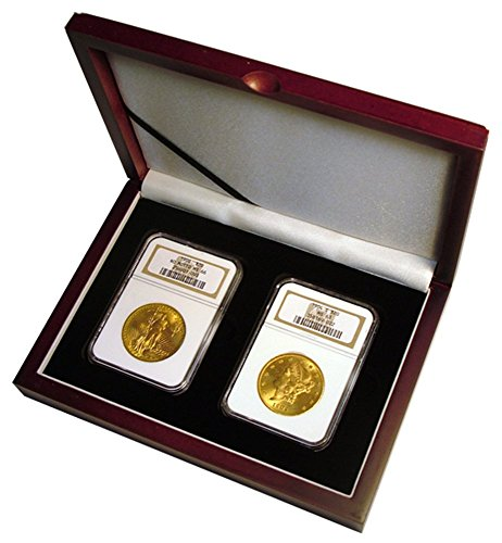 Display box for two NGC/PCGS/Premier/Lil Bear Elite Coin Slab Mahogany Matte Finish