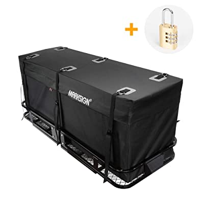 MARKSIGN 100% Waterproof Hitch Carrier Cargo Bag 59'' x 24'' x 24'' (20 Cu Ft), Waterproof Zipper and Rain Flap, 6 Lashing Straps with Cam Buckles, Zipper Lock Included: Automotive