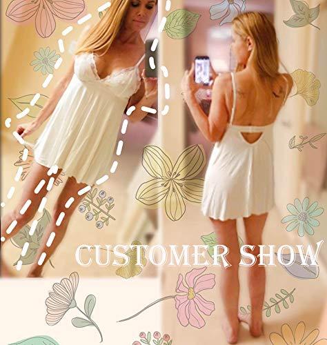 ADOME Sleepwear Women Sexy Chemise Lingerie Lace Full Slip Babydoll Dress  White S 0e7ddcaad