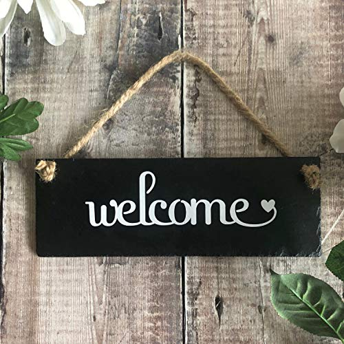 - rfy9u7 Welcome Front Door Sign Outdoor Welcome Sign for The Home Rustic Slate Sign Welcome Plaque Decorative Home and Garden Wall Sign