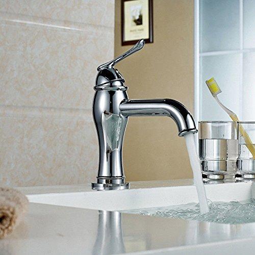 Küche Wasserhahn weit verbreitet massiv Messing Chrom Waschbecken Wasserhahn Küche Waschbecken Waschbecken Mischbatterie für Warm- und Kaltwasser Spüle Mischbatterie
