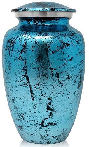 SmartChoice Cremation Urn for Human Ashes – Handcrafted Funeral Memorial Urn in Elegant Marbelized Sky Blue (Adult)