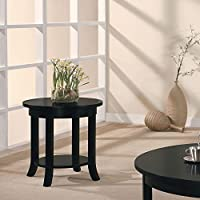 Simple Relax 1PerfectChoice Gardena Black Round End Table with Shelf