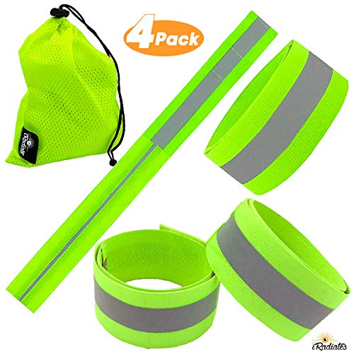 - Reflective Bands Reflector Running Gear - Adjustable Reflective Armband Arm Wrist Ankle Leg band - Reflective Tape Strap for Clothing Biking and Safety Night Walking for Men and Woman (4 Bands, Green)