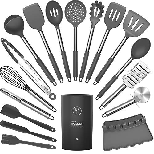 Silicone Cooking Utensils Set – Heat Resistant Kitchen Utensils,Turner Tongs,Spatula,Spoon,Brush,Whisk,Pizza Cutter…