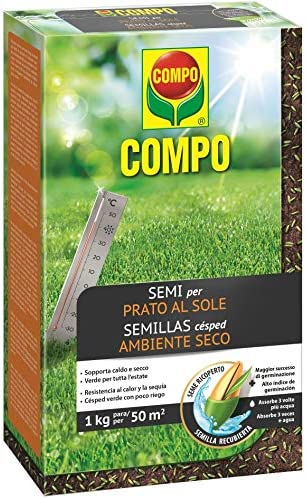 Compo Semillas de césped Resistente al Calor y a la sequía para ambientes Secos y soleados, 1 kg, 50 m²