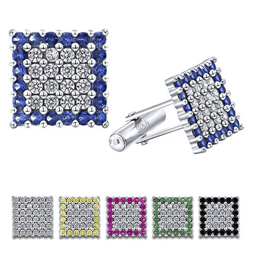 Men's Sterling Silver .925 Original Design Square Cufflinks with Cubic Zirconia (CZ) Stones, Surrounded by Simulated Sapphire Stones, Platinum Plated, Secure Solid Hinges, 15 mm Square.